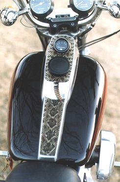 Harley Davidson with snake skin inlay