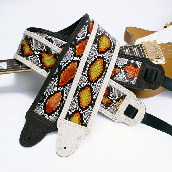 Hand Painted Python Custom Guitar Straps